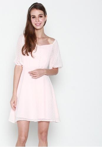 JOVET pink Puff Sleeved Dotty Dress 953B7AADAB4D25GS_1