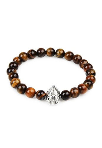 Memento Collection yellow and brown Spartan Helmet Detailed Bracelet with Tiger Eye ME060AC04WRNMY_1