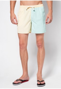 Color Blocked Mid Thigh Pool Boardshorts