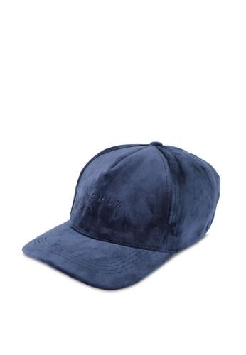 River Island navy Blue Velvet cap RI009AC0SIUCMY_1
