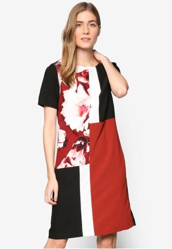花飾色塊拼接短袖連身esprit台北門市裙, 服飾, 洋裝