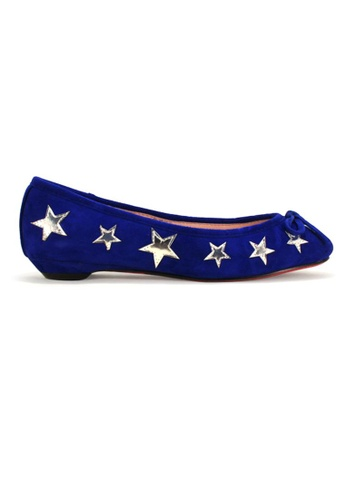 Gripz blue Nite Round Toe Star Studded Suede Flats GR357SH79IKISG_1