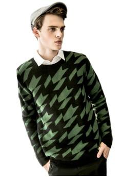 Contrast Houndstooth Knit Sweatshirt