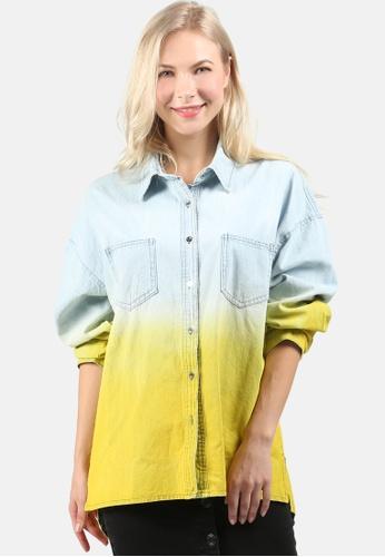 London Rag blue Ombre Long Denim Shirt 8D7BBAAFC772A4GS_1