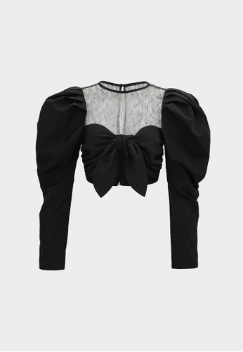 Pomelo black Puffed Sleeve Bow Crop Top - Black 82545AA6297C05GS_1
