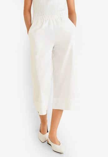 Mango white Stretch Cotton-Blend Trousers FF242AA7F3E8B1GS_1
