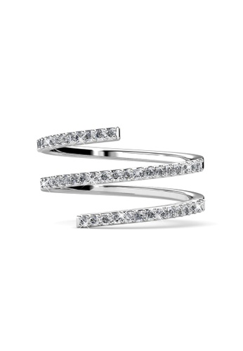 Her Jewellery silver Swarovski® Crystals - Spiral Ring (18K White Gold Plated) Her Jewellery HE581AC0RAEAMY_1