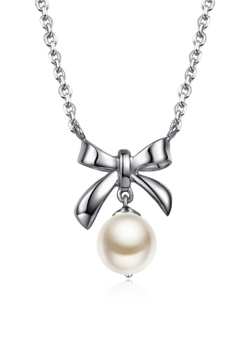 MBLife silver 925 Sterling Silver Freshwater Pearl Ribbon Pendant Necklace CBE4AACB7C5314GS_1