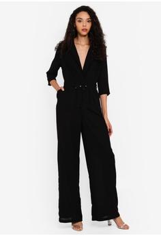 463c100ab099a MISSGUIDED black Wide Leg Blazer Style Jumpsuit 566C1AAB4A5184GS_1