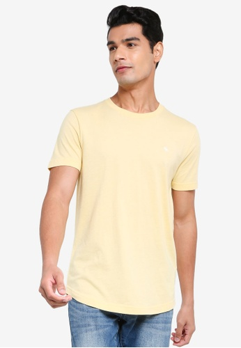 ABERCROMBIE & FITCH yellow Webex Icon Curved Hem T-shirt B76FFAA43C6E9FGS_1
