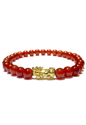 LITZ red and gold [SPECIAL] LITZ 999 (24K) Gold PiXiu (0.70g+/-) with free Red Agate 7D874AC0749EF1GS_1
