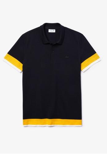 Lacoste navy Men's Lacoste Regular Fit Textured Cotton Pique Polo Shirt 89AB9AAEAA1AFDGS_1