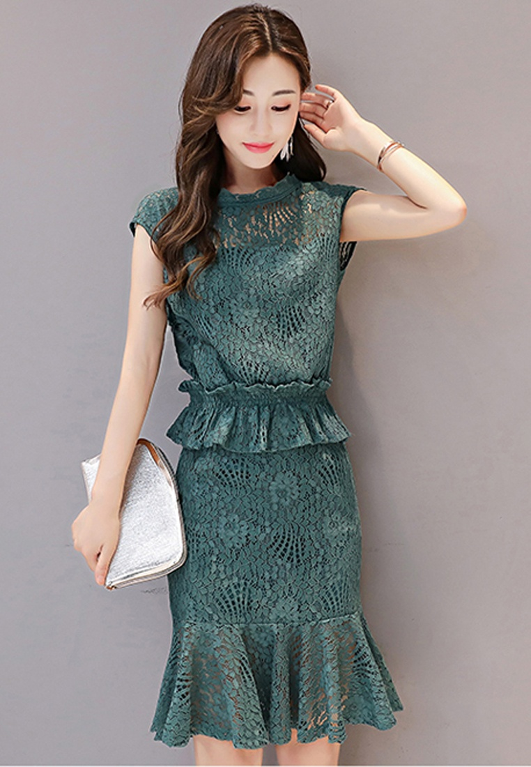 Lace Sleeves One Sunnydaysweety A072430GR Green Mini Piece 2017 Dress Green Short q5wpnU
