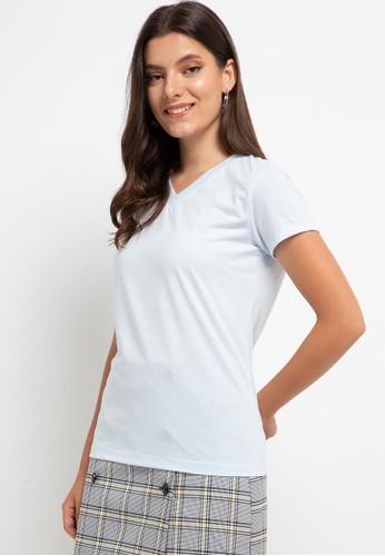 Tolliver blue V Neck Basic Short Sleeve Tee 7029CAA3345D9CGS_1