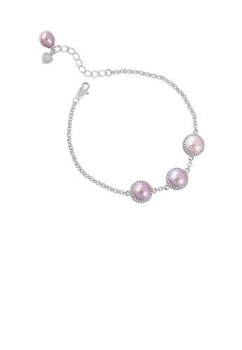 Glamorousky purple 925 Sterling Silver Fashion Elegant Geometric Round Purple Freshwater Pearl Bracelet BBC63ACCFC7D8EGS_1