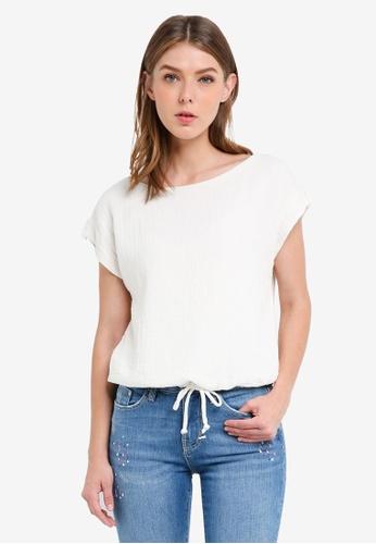 ESPRIT white Woven Short Sleeve Blouse 740EAAA680EC5FGS_1