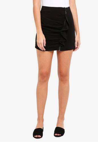 ZALORA black Zip Front Skirt with Ruffles E817AAA8693733GS_1