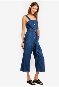 a6c1fc09cf0388 Miss Selfridge Blue Denim Button Pinafore Jumpsuit S  106.00. Sizes 6 8 10  12 14