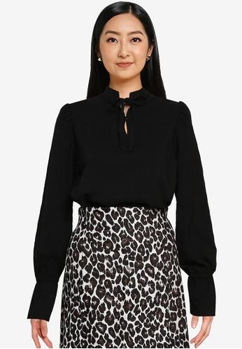 Heather black Long Sleeve Blouse 7B02FAA5B8D918GS_1