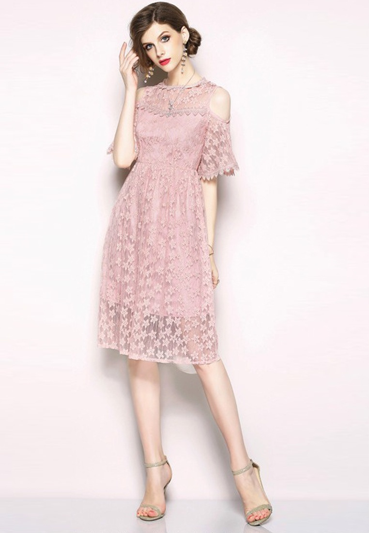 One Sunnydaysweety 2018 Shoulder Dress CA071870PI Open Piece Pink New Pink Lace wPqxzBXP