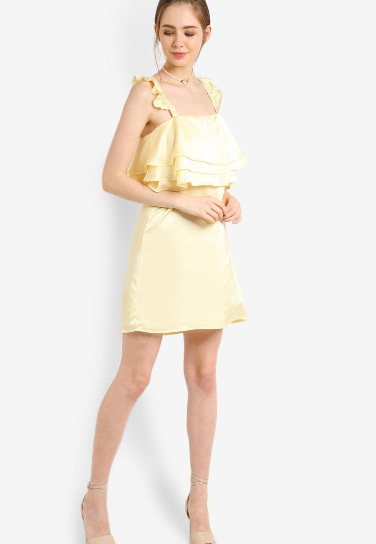 fashion Frill Dress Dress Frill union Frill fashion Yellow Yellow union wEqXvv
