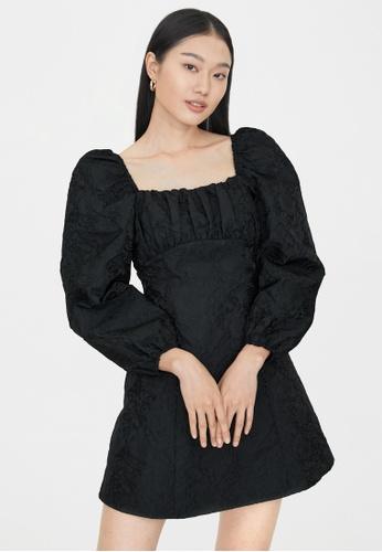 Pomelo black Mini Square Neck Dress - Black 7035EAA0BAB1C9GS_1
