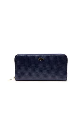Lacoste navy Women's Chantaco Piqué Leather Zip Wallet E5100AC05E2D5BGS_1