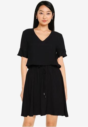 ZALORA BASICS black V Neck Layered Dress 92EE3AAEA0A7CFGS_1
