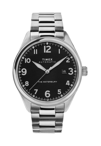TIMEX black and silver Timex Waterbury Automatic 42mm - Silver-Tone Case & Bracelet (TW2T69800) F642CAC108BE6FGS_1