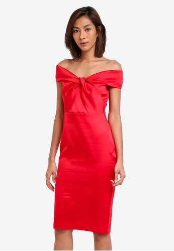Goddiva red Double Satin Bardot Midi Dress With Twisted Neckline GO975AA0SSBXMY_1
