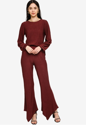 Zalia red Textured Boat Neck Co-ord Set 220D3AA106201BGS_1