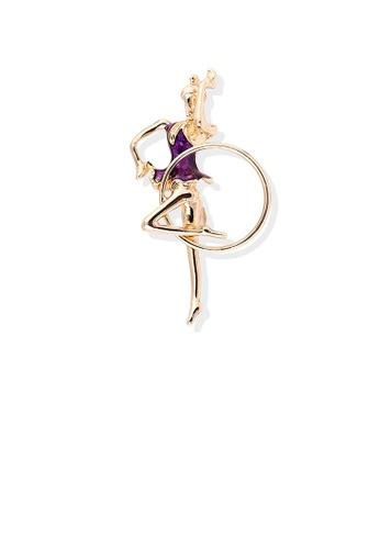 Glamorousky silver Fashion Personality Plated Gold Purple Hula Hoop Gymnastic Girl Brooch 7151BAC35455DEGS_1