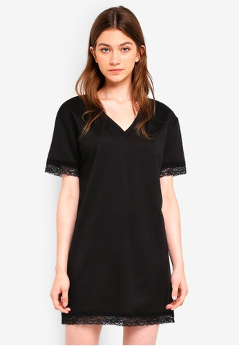 Something Borrowed black V-Neck Tee Dress With Lace Hem 8E32FAA0BEAB41GS_1