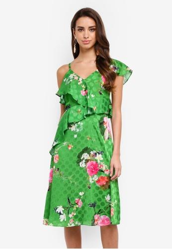 River Island green Floral Frill Tie Waist Midi Dress 9FE07AA1443AC3GS_1