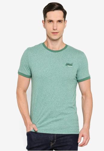 Superdry green Orange Label Ringer T-Shirt 7C609AAB98F5A9GS_1