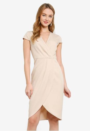 ZALORA WORK beige Asymmetric Pleated Wrap Dress 7BA7EAA04825F3GS_1