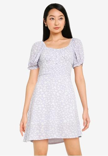 Urban Revivo purple Casual Floral Dress 8930DAA8A9DD1CGS_1