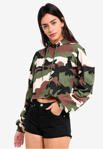 MISSGUIDED green Extreme Oversized Camo Cropped Hoodie D6166AA4C87CD0GS_1