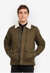 Burton Menswear London 綠色 Khaki Borg Collared Harrington Jacket BU964AA0S9Q5MY_1