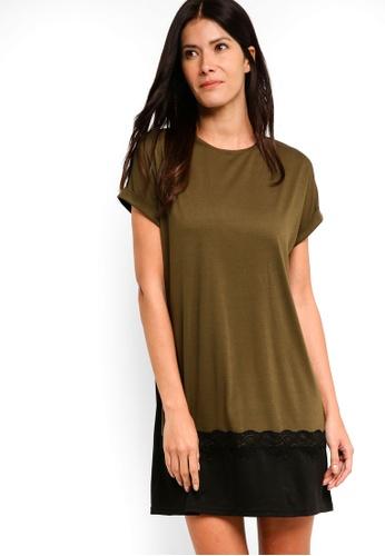 ZALORA brown T-Shirt Dress With Lace Trim 47DB9AA8CD08D2GS_1
