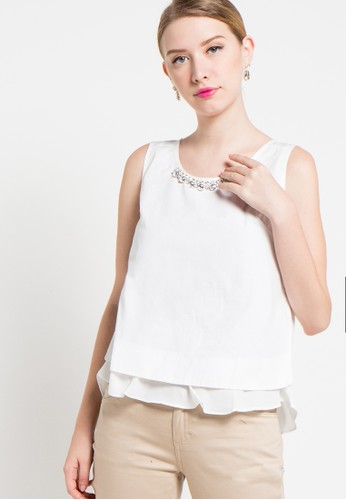 Contempo white Sleeves Blouse CO339AA52XSHID_1