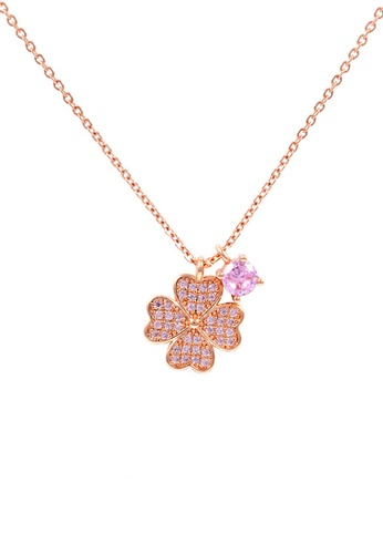 CELOVIS gold CELOVIS - Cathy Four-Leaf Clover with Pink Zirconia Clusters Pendant Necklace in Rose Gold Pink 92E26AC0454C38GS_1