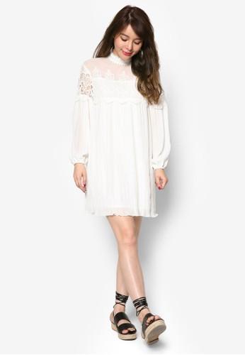 蕾絲拼接高領洋裝, 服飾, 洋esprit鞋子裝