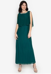 CIGNAL green Long Mesh Gown w/ Pearl Cape 1FB83AA3E43E74GS_1