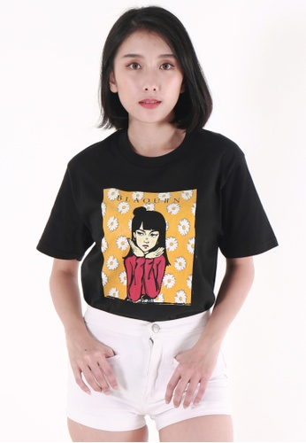 OHNII 黑色 BLAQUIIN 雛菊傲嬌女孩印花棉質 T 恤衫(黑) 9365DAABDE699EGS_1