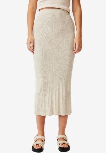 Cotton On beige Ultimate Knit Midi Skirt BCBF4AAEF540B0GS_1