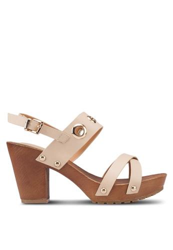 Noveni brown Eyelet Wooden Heels 5D63ASHF802BA4GS_1