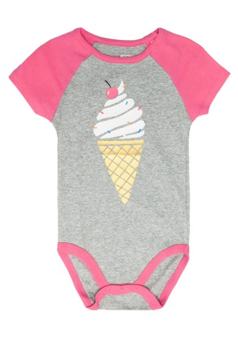 FOX Kids & Baby grey Short Sleeve Bodysuit 5DA10KACBF13A2GS_1