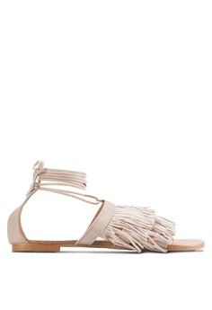 【ZALORA】 流蘇纏繞踝帶平底涼鞋