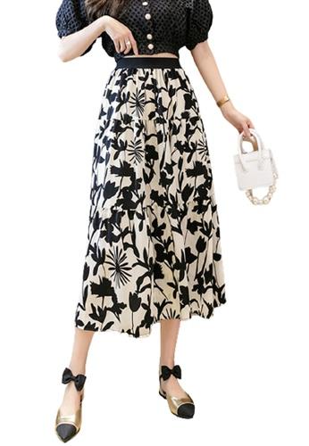 Halo beige Floral Printed Skirt 3C9B3AA0EEE11AGS_1